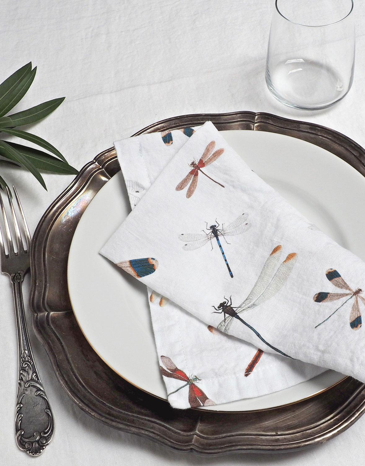 White Linen Napkins with Dragonflies from Linoroom