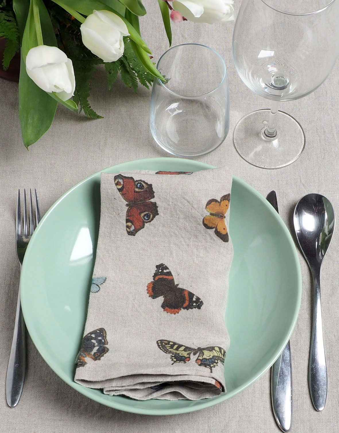 Butterfly Everyday Cloth Napkins 100 Linen Linoroom
