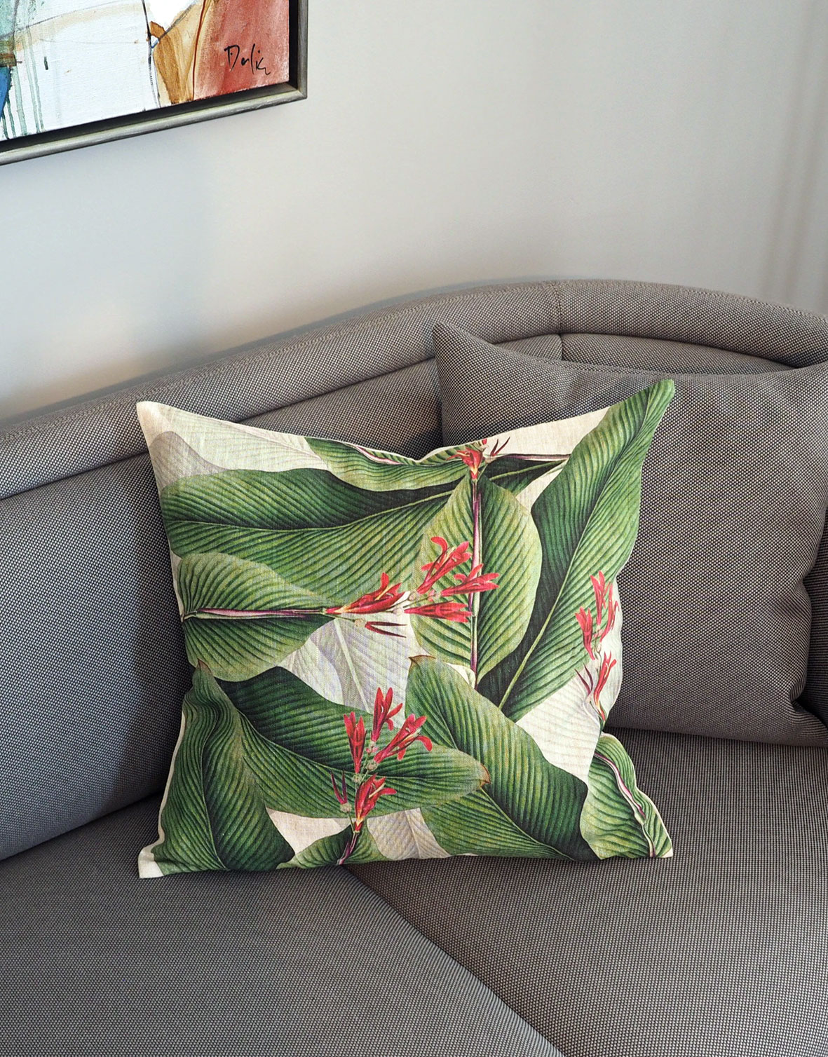 Canna Leaves Green Linen Pillowcase For Couch Linoroom