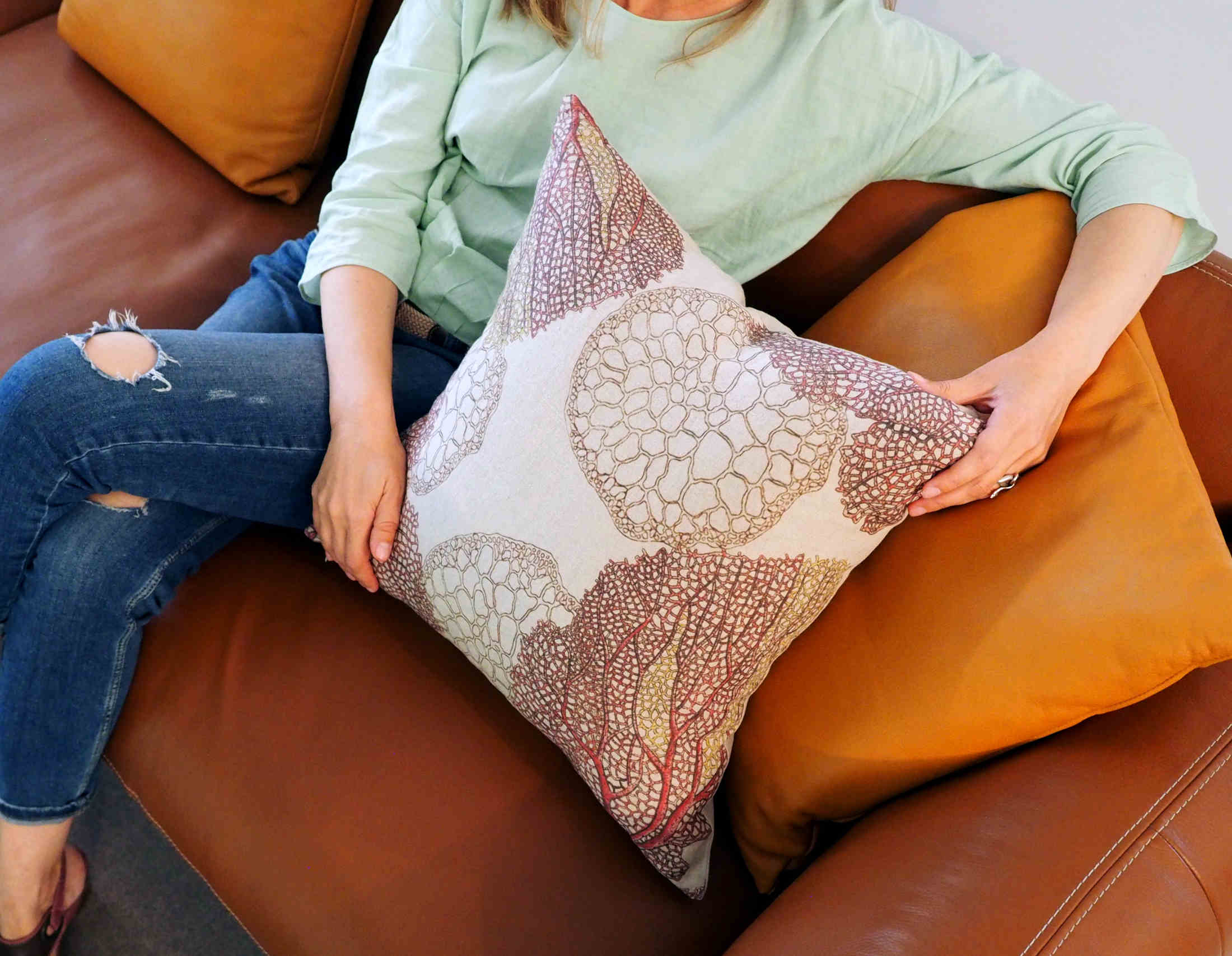 Linoroom linen throw pillow cover Corals