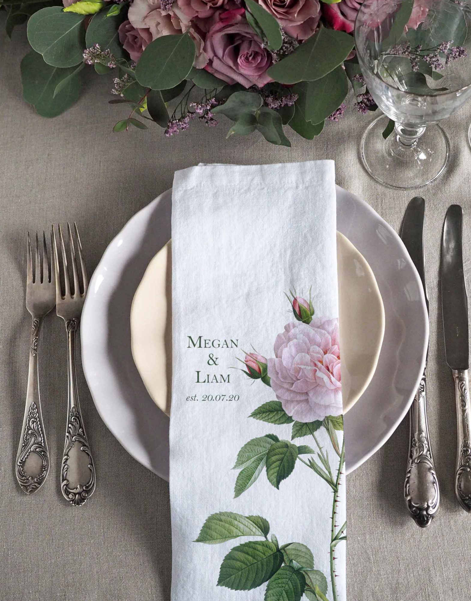Personalised wedding linen napkin with flower design from Linoroom