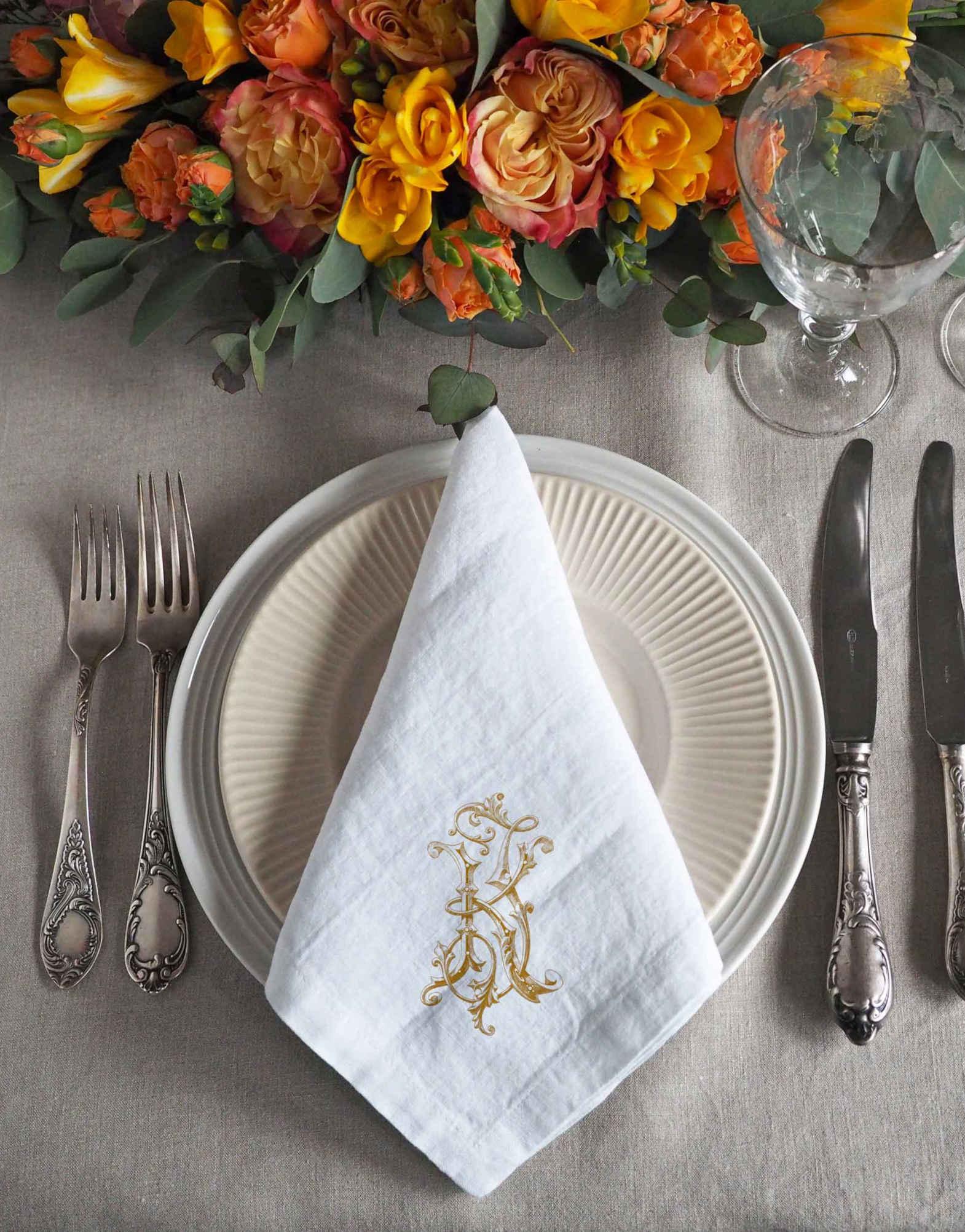 Custom Printed Monogrammed Linen Wedding Party Napkins 100 Linen Linoroom