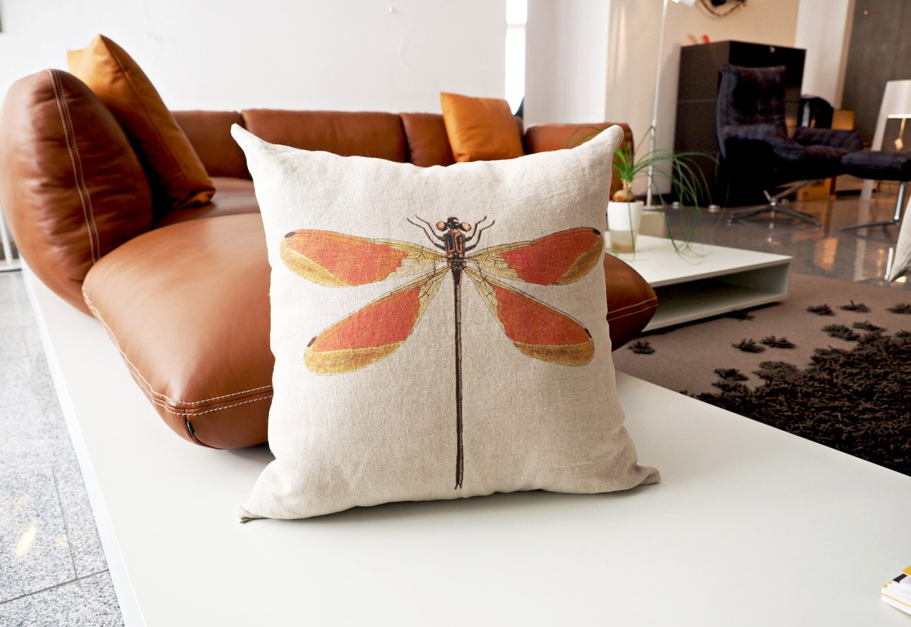 Linen cushion cover Dragonfly from Linoroom