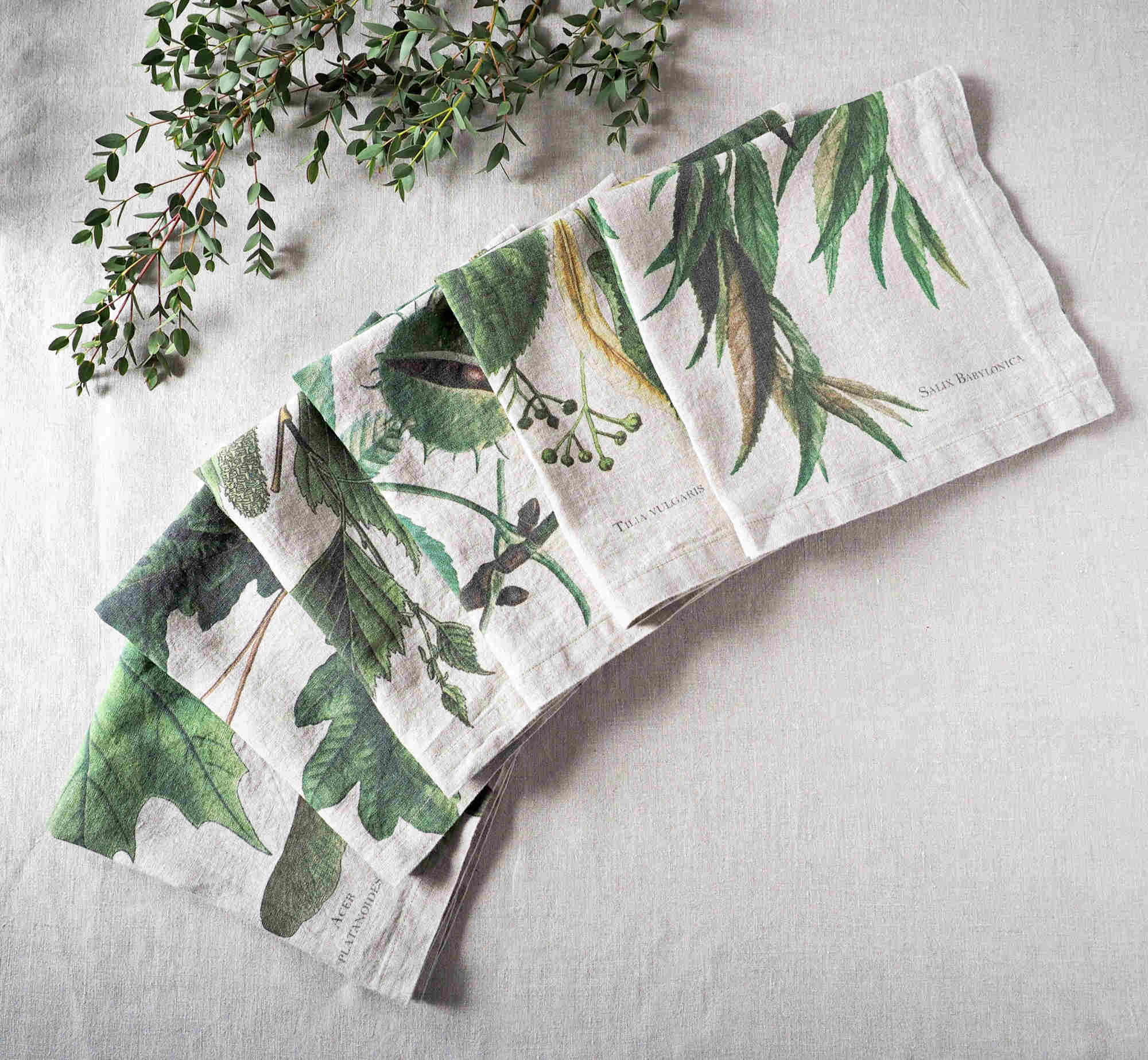 Lush green trees linen napkins from Linoroom