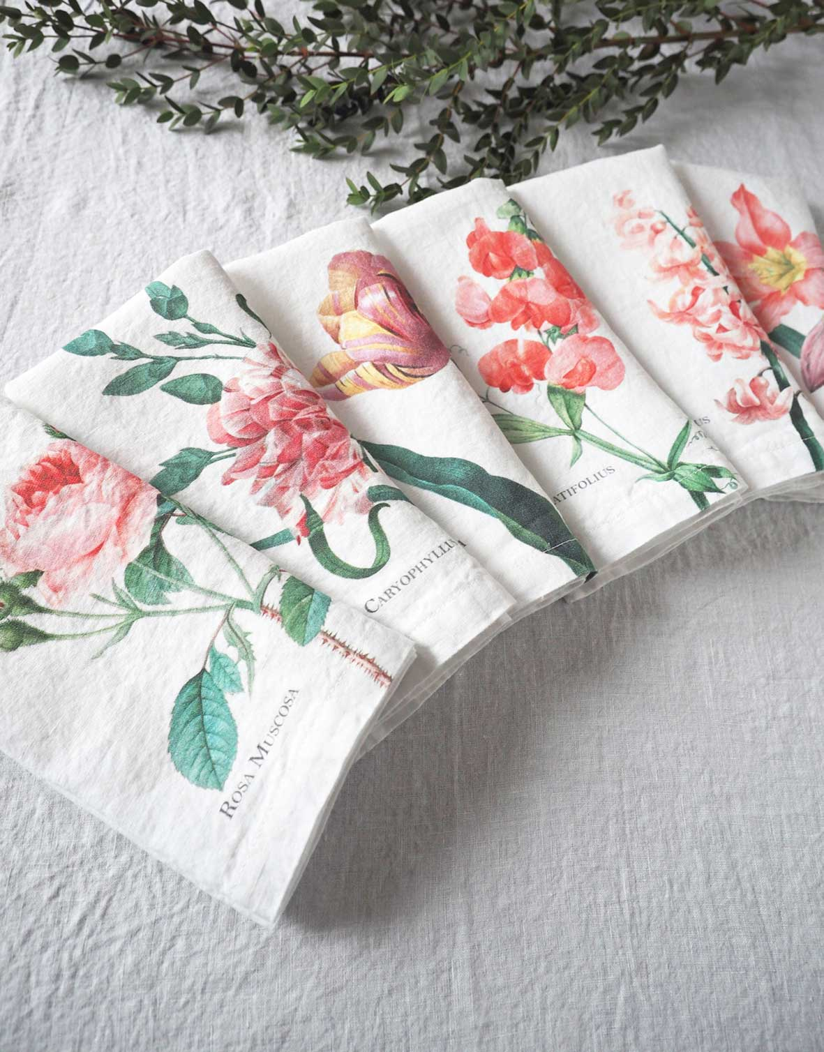 Pink Flowers White Linen Napkins from Linoroom